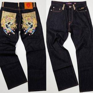 Ed Hardy dark wash rhinestone pockets skull jeans
